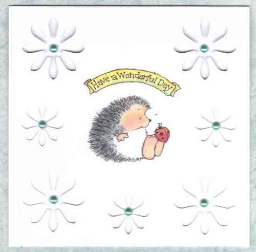 HB145 Handmade Birthday Card Hedgehog with Cutout Daisies