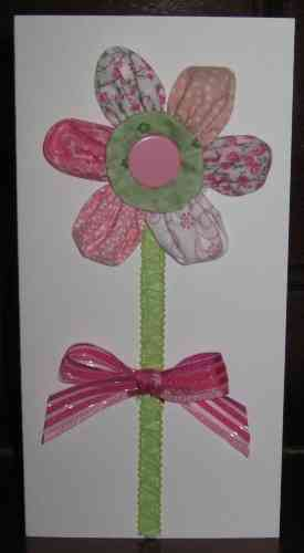 Handmade Birthday Card Patchwork Puff Flower 1