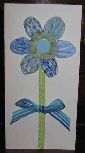 Handmade Birthday Card Patchwork Puff Flower 2