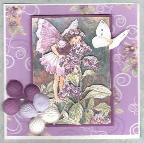 HB109, HB152, HB153 Handmade Birthday Card - Flower Fairies Purples