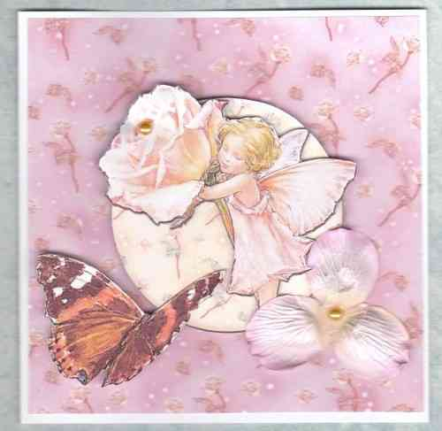 HB108, HB110, HB156 Handmade Birthday Card - Flower Fairies Pinks 1