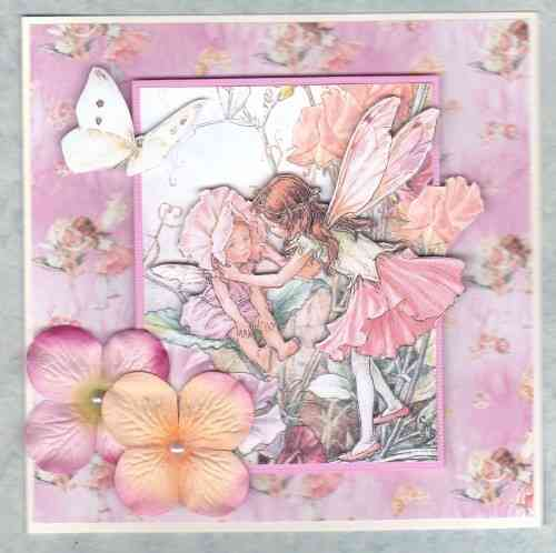HB111, HB154. HB155 Handmade Birthday Card - Flower Fairies Pinks 2