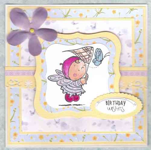 Handmade Birthday Card Fairy with Butterfly Net