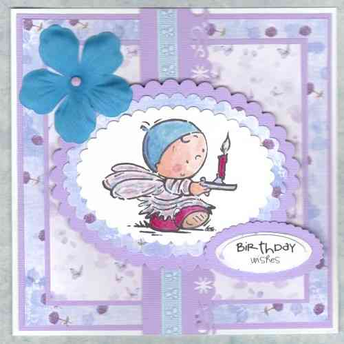 Handmade Birthday Card Fairy with Candlestick