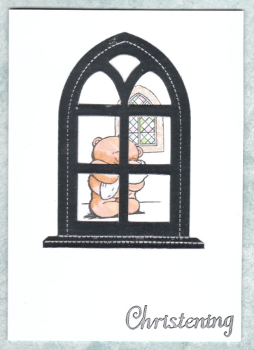 Handmade Christening Card Arched Window