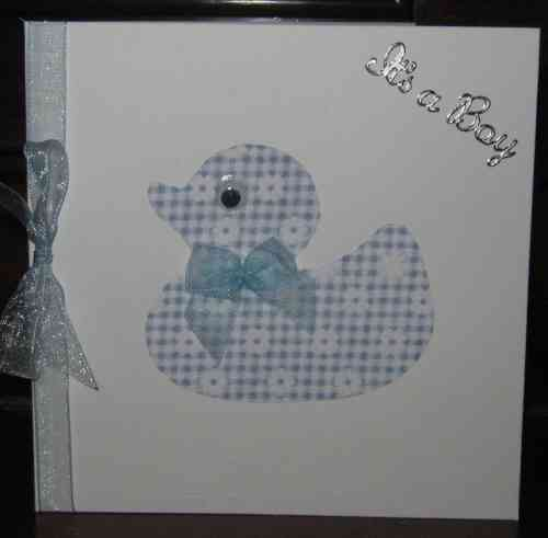 Handmade New Baby Card Gingham Baby Duck - Blue