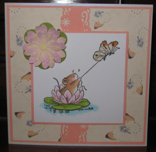 Handmade Birthday Card Water Lily Skiing