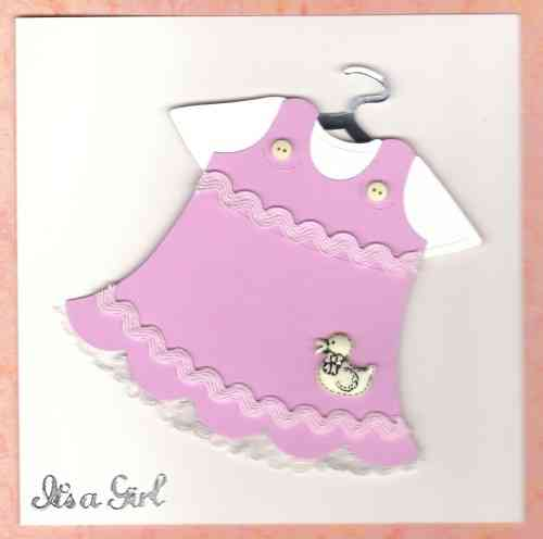 Handmade New Baby Girl Outfit Card