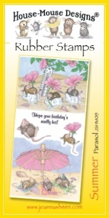 House Mouse Design Unmounted Rubber Stamp Set Summer - Parasol