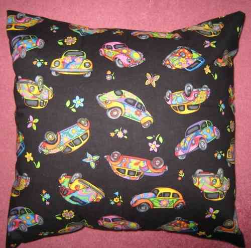 Handmade Floral VW Beetle Cushion - Black