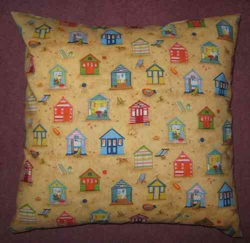 Handmade Seaside Cushion - Beach Huts