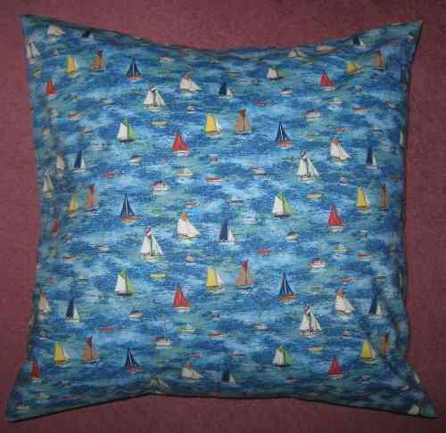 Handmade Seaside Cushion - Sailing Boats