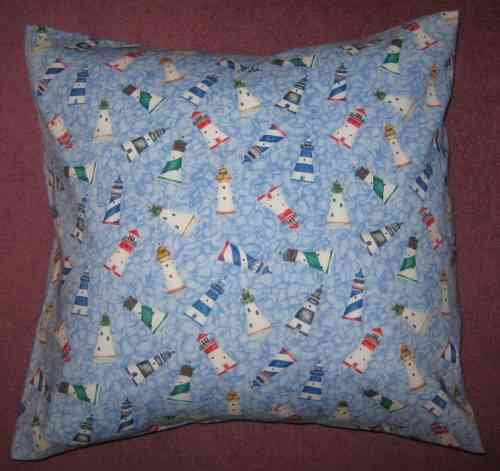 Handmade Seaside Cushion - Lighthouses