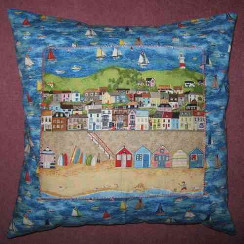 Handmade Seaside Cushion - Sailing Boats with Panel