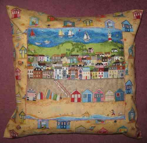 Handmade Seaside Cushion - Beach Huts with Panel