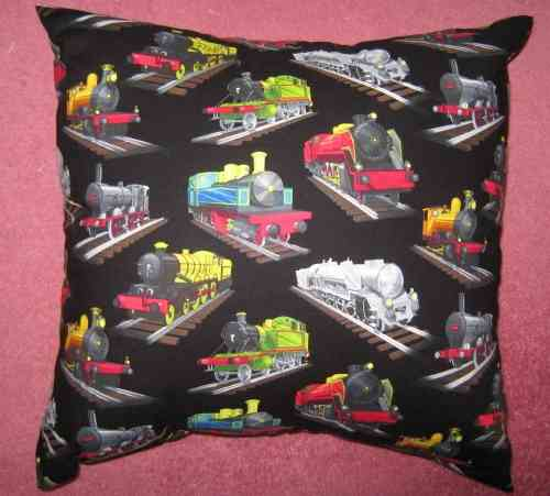 Handmade Steam Trains Cushion - Black