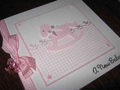 Luxury Handmade Card New Baby Girl - Rocking Horse