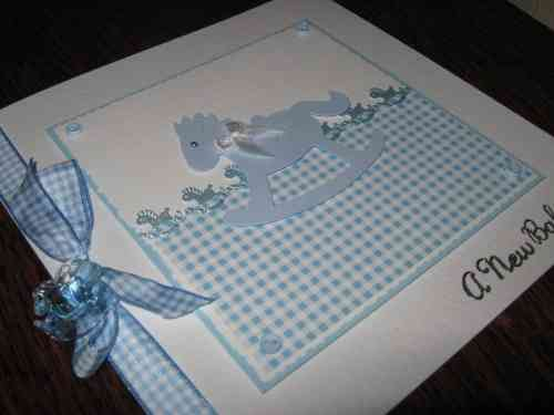Luxury Handmade Card New Baby Boy - Rocking Horse