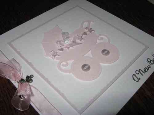 Luxury Handmade Card New Baby Girl - Pram
