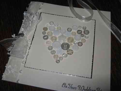 Luxury Handmade Wedding Card - Button Heart
