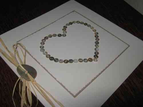 Luxury Handmade Wedding Card - Mother of Pearl Heart