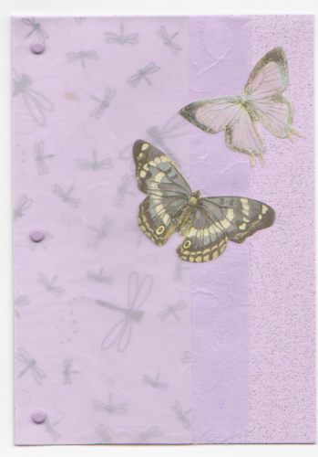 HB28 Handmade Welsh Birthday Card -  Butterfly Layered - Lilac - Penblwydd Hapus