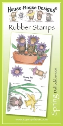 House Mouse Design Unmounted Rubber Stamp Set Spring - Daffodil