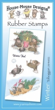 House Mouse Design Unmounted Rubber Stamp Set Winter - Toboggan