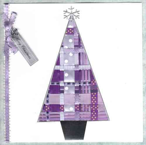 Luxury Handmade Christmas Card - Ribbon Christmas Tree Lilac