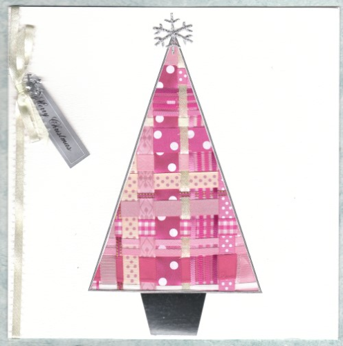 Luxury Handmade Christmas Card - Ribbon Christmas Tree Pink