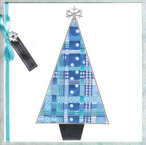 Luxury Handmade Christmas Card - Ribbon Christmas Tree Blue