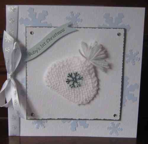 Luxury Handmade Baby's 1st Christmas Card - Knitted Bonnet