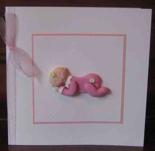 Handmade New Baby Girl Lying Card