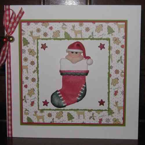 Luxury Handmade Christmas Card - Handmade Figure in Christmas Stocking
