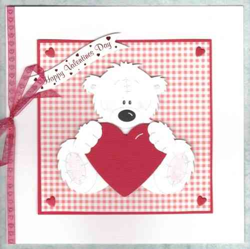 Luxury Handmade Valentine Card - Tatty Teddy Sitting with Heart