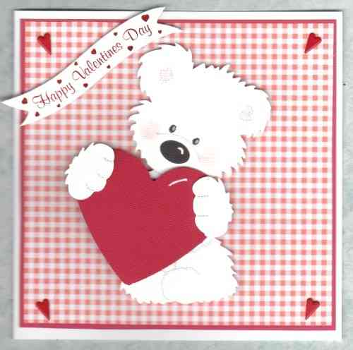 Handmade Valentine Card Tatty Teddy Standing with Heart