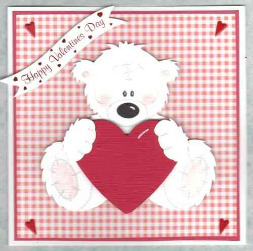 Handmade Valentine Card Tatty Teddy Sitting with Heart