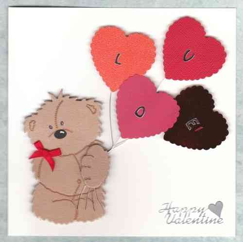 Handmade Valentine Card Shy Teddy with Heart Balloons