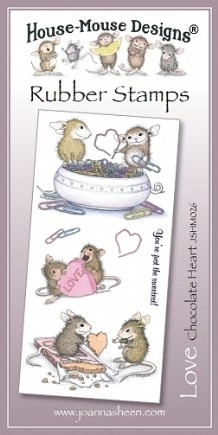 House Mouse Design Unmounted Rubber Stamp Set Love - Chocolate Heart