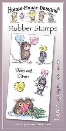 House Mouse Design Unmounted Rubber Stamp Set Love - Smelling the Rose