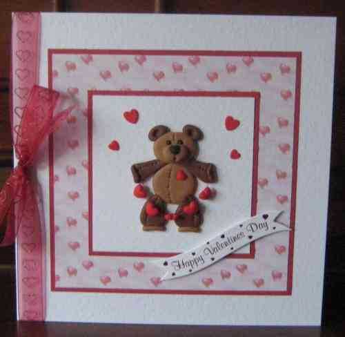 Luxury Handmade Valentine Card - Fimo Teddy with String of Hearts