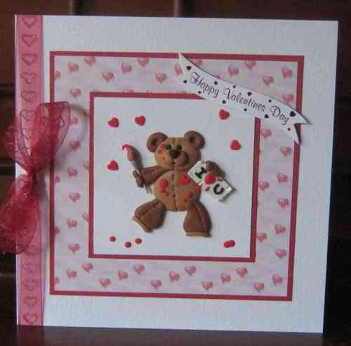 Luxury Handmade Valentine Card - Fimo Teddy Painting Hearts