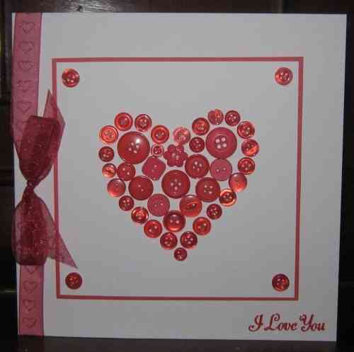 Luxury Handmade Valentine Card - Button Heart