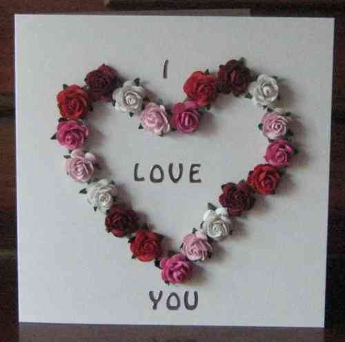 Handmade Valentine Card Mulberry Rose Heart