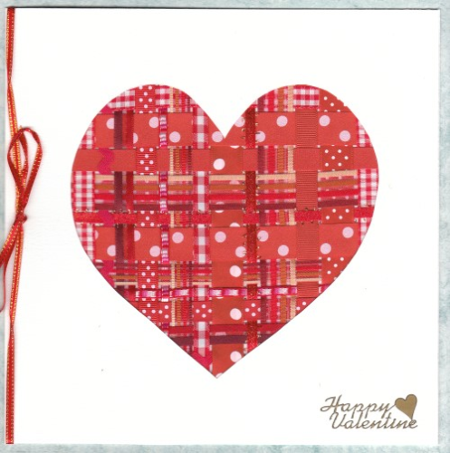 Handmade Valentine Card - Ribbon Heart Red