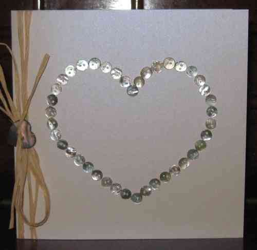 Handmade Valentine Card - Mother of Pearl Heart