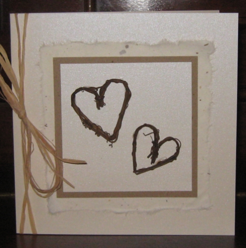 Handmade Valentine Card Rustic Hearts