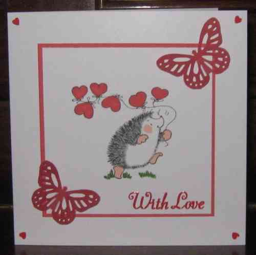 Handmade Valentine Card Hedgehog with Balloons