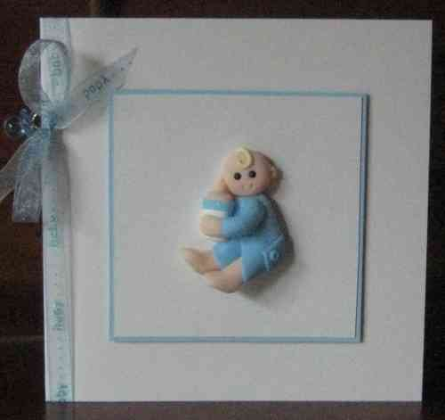 Handmade New Baby Boy Card - Sitting Baby