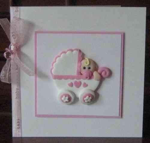 Handmade New Baby Girl in Pram Card